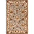 Hand-tufted Stanwood Grey Traditional Bordered New Zealand Wool Rug