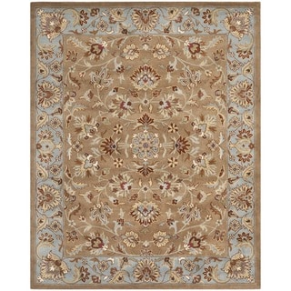 Handmade Heritage Brown/ Blue Wool Rug