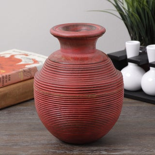 Antique Red Spiral Wood Vase (India)