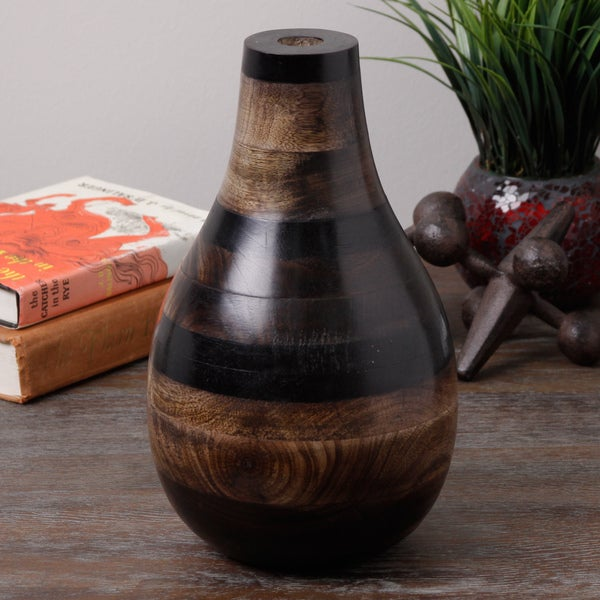 Brown Multi Color Wood Vase (India)