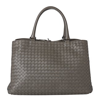 Bottega Veneta Grey Woven Leather Dual-compartment Tote Bag