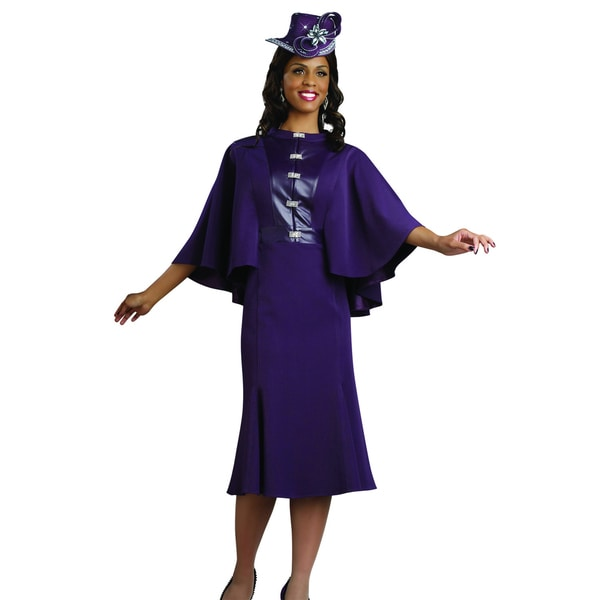 Lisa Rene' Women's Purple Cape Buckle Evening Dress