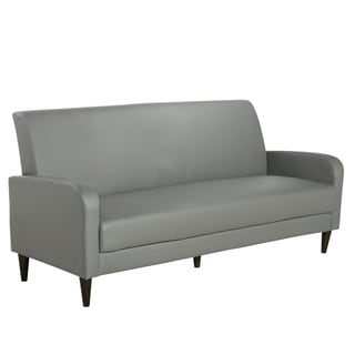 Cool Grey Faux Leather Sofa