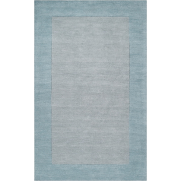 Hand-crafted Light Blue Tone-On-Tone Bordered Brenham Wool Rug (2' x 3')