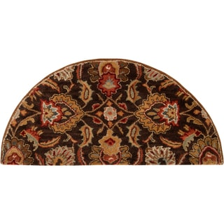Hand-tufted Sarita Chocolate Brown Floral Wool Rug (2' x 4' Hearth)