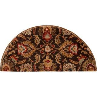 Hand-tufted Sarita Chocolate Brown Floral Wool Rug (2' x 4' Hearth)