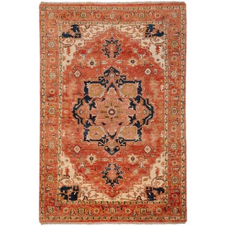 Hand-knotted Adame Rust Wool Rug (2' x 3')