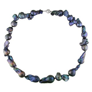 Miadora Black Keshi Cultured Freshwater Pearl Necklace with Silver Ball Clasp (13-20 mm)