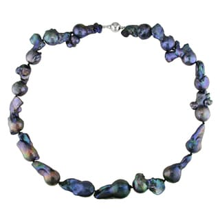 Miadora Black Keshi Pearl Necklace with Silver Ball Clasp (13-20 mm)