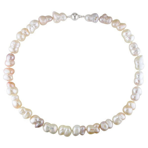 Miadora Pink and White Cultured Freshwater Pearl Necklace with Silver Ball Clasp (11-13 mm)