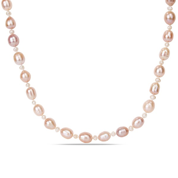 M by Miadora Pink and White Cultured Freshwater Pearl Necklace (3-4 mm and 8-9 mm)