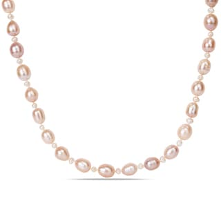Miadora Freshwater Pink and White Pearl Necklace (3-4 mm and 8-9 mm)