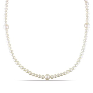 M by Miadora White Cultured Freshwater Pearl Necklace (5-5.5 and 9-10 mm)