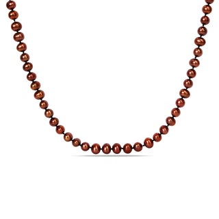 Miadora Freshwater Brown Pearl Endless Necklace with Bonus Earrings
