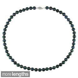 Miadora Black Akoya Pearl Necklace with 14k White Gold Clasp (7-7.5 mm)