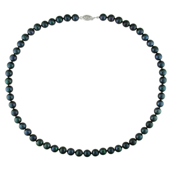 Miadora Black Cultured Akoya Pearl Necklace with 14k White Gold Clasp (7-7.5 mm)