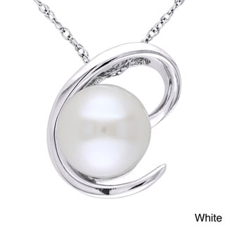 Miadora 10k White Gold Cultured Black or White Pearl Necklace (8.5-9 mm)