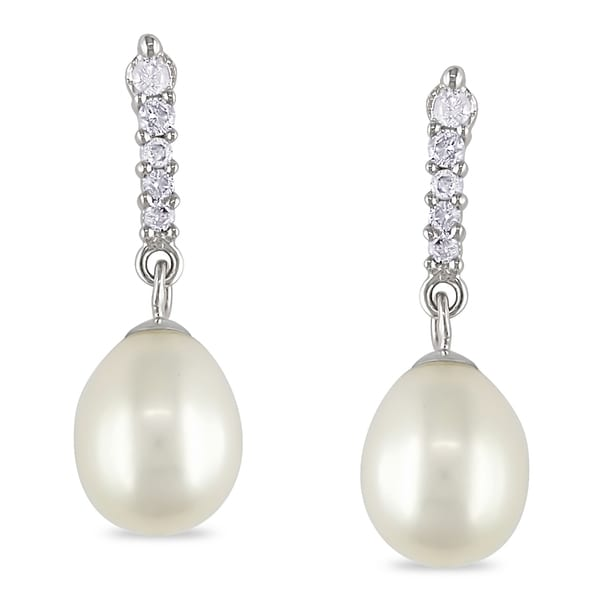 Miadora 14k White Gold Freshwater Pearl and Diamond Earrings (I-J, I2-I3)