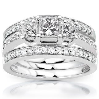 Annello  14k White Gold 1 1/3ct TDW Diamond 3-Ring Bridal Set (H-I, I1-I2)