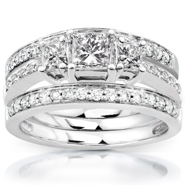 Annello 14k White Gold 1 1/3ct TDW Diamond 3-Ring Bridal Set (H-I, I1-I2)