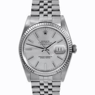 Rolex Mens Stainless Steel Datejust Silver Stick Dial Watch