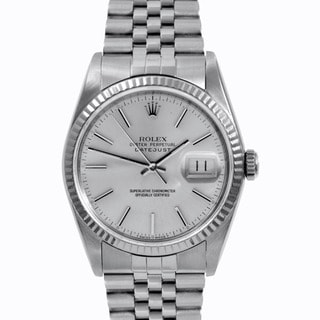 Pre-owned Rolex Mens Stainless Steel Datejust Silver Stick Dial Watch