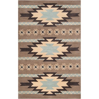 Dick Idol Hand-tufted Grey/Blue Southwestern Aztec Berthong Wool Rug (5' x 8')
