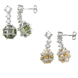Plutus Silver Simulated Peridot or Simulated Citrine and CZ Earrings