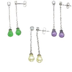 Plutus Sterling Silver Simulated Gemstone and Cubic Zirconia Earrings