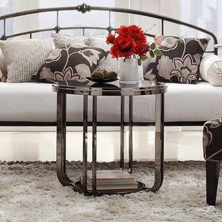 TRIBECCA HOME Edison Black Nickel Plated Modern Glass Top Round End Table