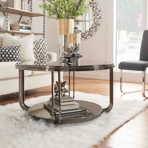 INSPIRE Q Edison Black Nickel Plated Castered Modern Round Coffee Table