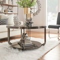 Edison Black Nickel Plated Castered Modern Round Coffee Table