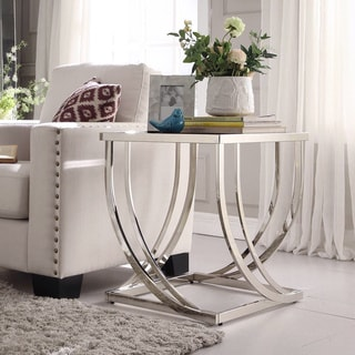 INSPIRE Q Anson Steel Brushed Arch Curved Sculptural Modern End Table