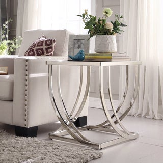 TRIBECCA HOME Anson Steel Brushed Arch Curved Sculptural Modern End Table