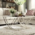 Tribecca Home Anson Steel Brushed Arch Curved Sculptural Modern Coffee Table