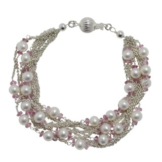 Sterling Silver White FW Pearl and Pink Tourmaline Bracelet (5-5.5 mm)