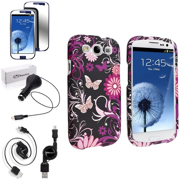 INSTEN Pink Butterfly Snap-On Case Cover/ Screen Protector/ Charger for Samsung Galaxy S3