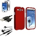 Dark Red BasAcc Snap-On Case/Screen Protector/Headset for Samsung Galaxy S3