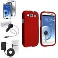 BasAcc Rubber Red Snap-On Case/Screen Protector/Chargers for Samsung Galaxy S3