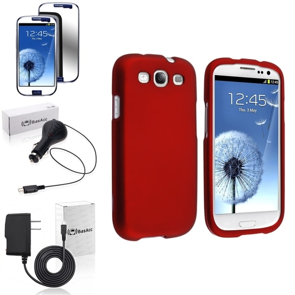 INSTEN Rubber Red Snap-On Case Cover/ Screen Protector/ Chargers for Samsung Galaxy S3