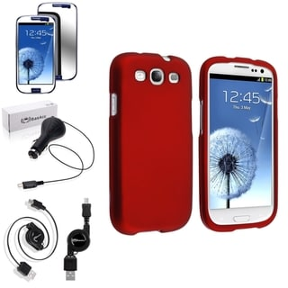 BasAcc Snap-On Red Case/Anti-Scratch Screen Protector/Charger for Samsung Galaxy S3