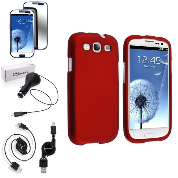 INSTEN Snap-On Red Case Cover/ Anti-scratch Screen Protector/ Charger for Samsung Galaxy S3