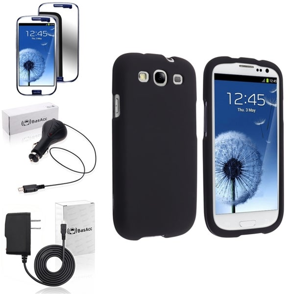 INSTEN Black Snap-On Phone Case Cover/ Anti-scratch Screen Protector/ Chargers for Samsung Galaxy S3