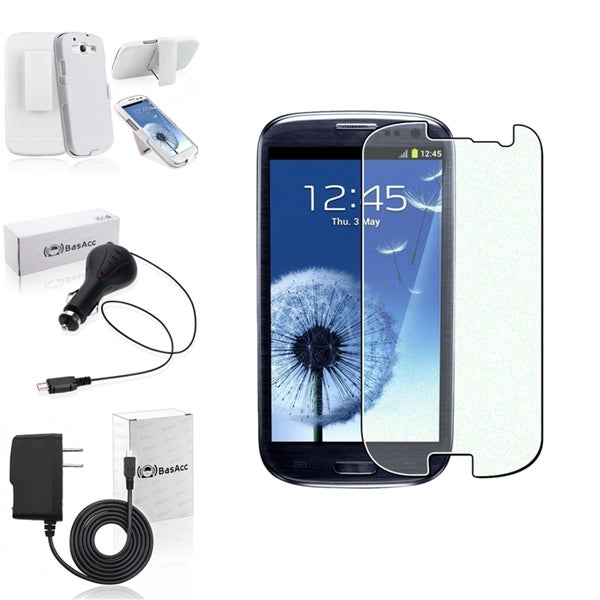 BasAcc White Case with Stand/Screen Protector/Chargers for Samsung Galaxy S3