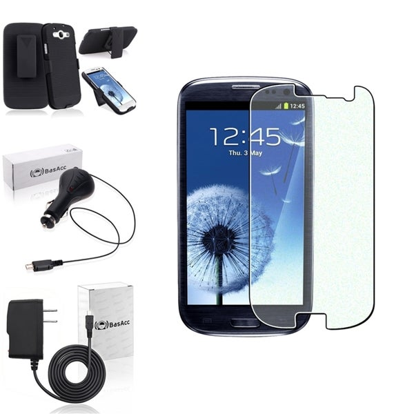 INSTEN Phone Case Cover with Belt Clip/ Screen Protector/ Chargers for Samsung Galaxy S3