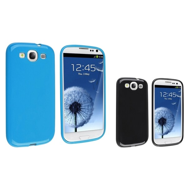 INSTEN Blue TPU Phone Case Cover/ Black TPU Phone Case Cover for Samsung Galaxy S III/ S3