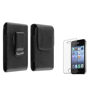 BasAcc Leather Case/ Screen Protector for Apple iPhone 4/ 4S