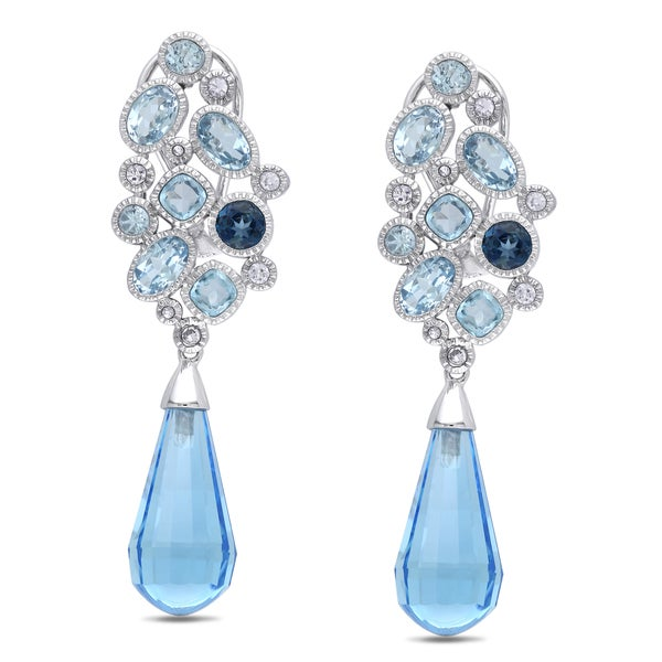 Miadora 14k White Gold Blue and White Topaz Dangle Earrings