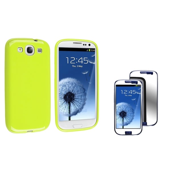 INSTEN TPU Phone Case Cover/ Mirror Screen Protector for Samsung Galaxy S III/ S3