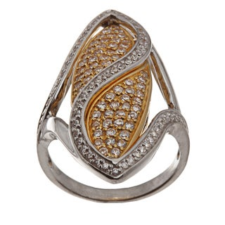 Beverly Hills Charm Platinum and 18k Gold over Silver Cubic Zirconia Ring